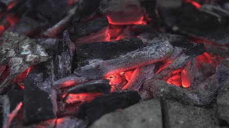 chamejante : Ember from under the fire. The concept of outdoor recreation, cooking on a fire. The concept of fire safety and not extinguished fire.
