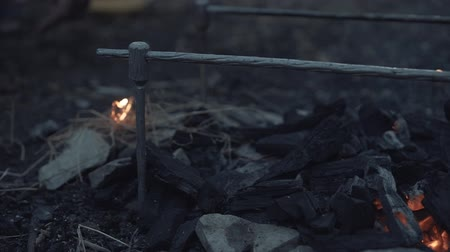ontvlambaar : Close-up - a mans hand pours ignition on smoking embers and makes a fire.The concept of cooking on a fire. The concept of fire safety and quick fire.