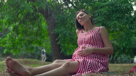 fertilidade : A pregnant girl sitting on the grass in the park. Happy girl with long dark hair in a striped white-red dress strokes her tummy. In the background, trees, people passing by.