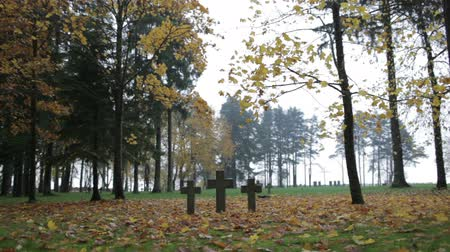 sírkő : Three tombstone crosses. Cemetery of German soldiers in Toila, Estonia. Autumn.