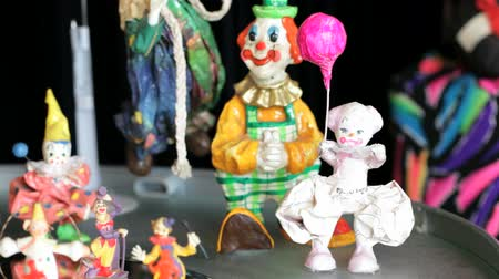 insan eliyle yapılmış şey : Different shots of  the clown statuettes in Akvamarine circus. Many  figurines.