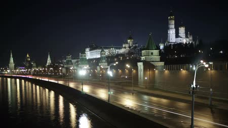 moscow night : Quay near the Moscow Kremlin. Night time lapse with motion blur.