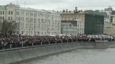 unrest : Demonstration in Moscow at the embankment of the river.
