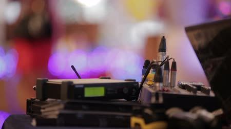 mikser : Sound engineer workplace with beautiful bokeh lights in background.
