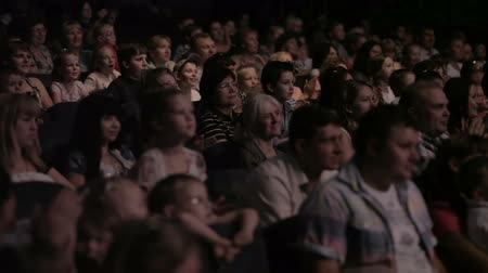stage theater : Audience applauded in the theater. Stock Footage