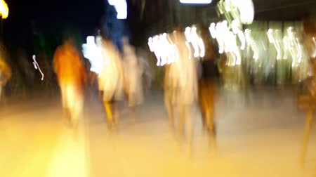 blur : Time lapse quay near sea club life restaurants, cafe, walking through motion blurred crowd Stock Footage