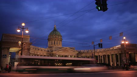 kazanskiy : 4K footage of Time lapse of traffic at night near Kazan Cathedral, St. Petersburg, Russia. Stock Footage