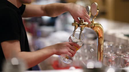 beer tap : Man pouring draft beer into the glass from the tap Stock Footage