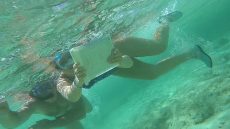 vodotěsný : Slow motion shot of two people making photos of underwater life with tablet PC.