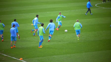 zenit : ST. PETERSBURG, RUSSIA - APRIL 5, 2015: Slow motion of football players having warming-up game before the match. Zenit-CSKA football match, Russian Championship, Premier League Stock Footage