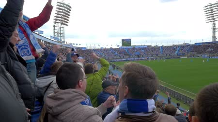 zenit : ST. PETERSBURG, RUSSIA - APRIL 5, 2015: Slow motion of football fans are happy and excited with their favourite team scoring the second time. Zenit-CSKA match, Russian Championship, Premier League Stock Footage