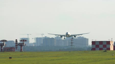 přistání : Panning shot of a plane letting down and landing on the runway at the airport, city view in background