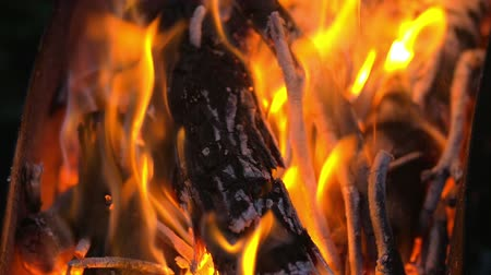 karakalem : Slow motion closeup shot of a charcoal burning in the campfire. Stok Video