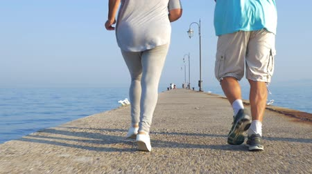 amadurecer : Slow motion steadicam shot of senior man and woman having a jog along the pier in the sea, back view. Active and healthy lifestyle