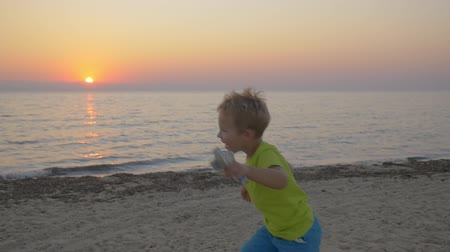 átölelő : Slow motion steadicam shot of a little boy with toy plane running along the beach to parents. Mother taking him in arms and embracing. Happy parenthood Stock mozgókép