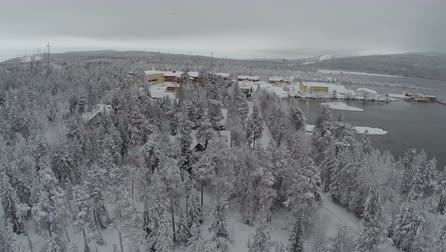 dağ evi : Aerial shot of winter village in pine wood by the lake in Finland. Landscape with snow covered evergreen trees, water and hills in the distance Stok Video