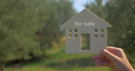 dom : Advert for property and homes for sale. Close-up shot of woman holding house model with for sale text against natural green background