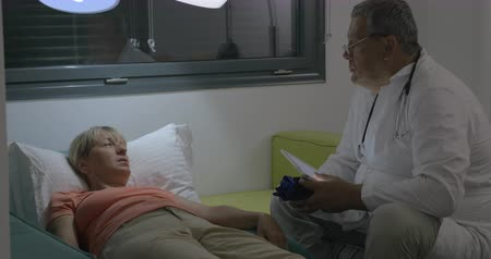 просмотров : Male doctor visiting patient at home. He holding pad tonometer in hands while consulting sick senior woman lying on sofa. Home health care