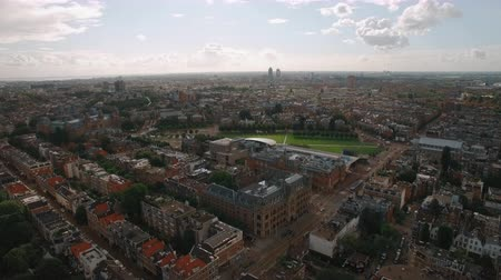 amsterodam : Aerial scene of Amsterdam with streets, houses, Rijksmuseum and Art Square