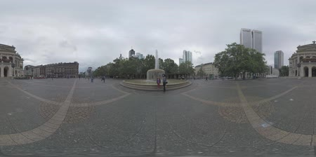 oper : FRANKFURT AM MAIN, GERMANY - JUNE 2, 2016: 360 VR video. View to Alte Oper and Opera Square with fountain. Concert hall and former opera house was destroyed in 1944 and rebuilt to open in 1981