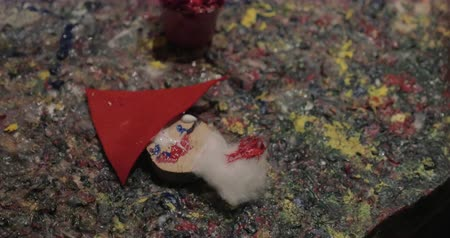 artisant : Christmas arts and crafts. Close-up shot of a Santa Claus craftwork made by a child