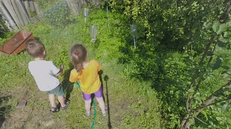 dacha : Two kids in the yard of countryside house. They help adults and watering plants with hose