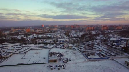 çok katlı : Aerial panorama of St. Petersburg in early winter morning. Scene with industrial and housing areas, Russia