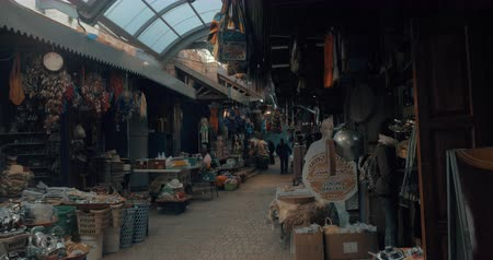akko : ACRE, ISRAEL- MARCH 12, 2017: Many vendors selling different goods in old city market Stock Footage