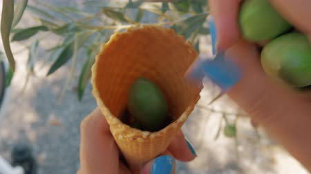 waffle : Close-up shot of a woman putting fresh picked green olives into the waffle cone