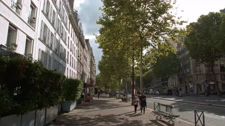 forrado : PARIS, FRANCE - SEPTEMBER 29, 2017: Timelapse shot of walking along roadside sidewalk lined with trees. Passing by stores and cafes, view on sunny day