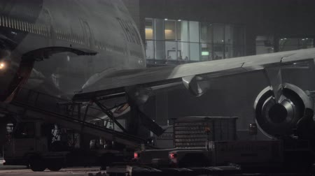 unload : MOSCOW, RUSSIA - DECEMBER 18, 2017: Arrived Thai Boeing 747-400 being prepared for unloading luggage in Domodedovo Airport at night. The flag carrier airline of Thailand formed in 1988