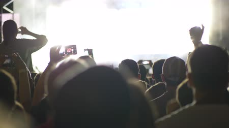 película de filme : Crowd of people looking at the stage with big screen displaying unidentified rock musicians in bright lights of projectors Stock Footage