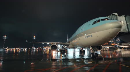 pontes : MOSCOW, RUSSIA - OCTOBER 04, 2017: Korean Air aircraft with boarding bridge. Night view at the airport during the rain