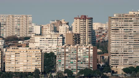 плотно : Alicante cityscape with apartment blocks, Spain. Densely built-up residential area Стоковые видеозаписи