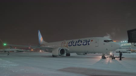 estacionado : MOSCOW, RUSSIA - JANUARY 29, 2018: Parked airplane of Flydubai at Sheremetyevo Airport, view at winter night