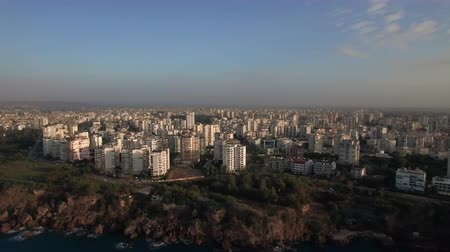 yoğunluk : Aerial shot of a coastal city within the country of Turkey with white buildings, Antalya Stok Video