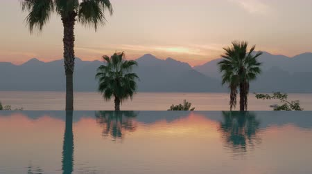 sınırları : A steadicam shot of a glossy swimming pool boundary that is reflecting warm evening sky colored by setting sun. There are some tall palm trees behind the pool. A calm sea is dividing them from dark misty mountains on the background