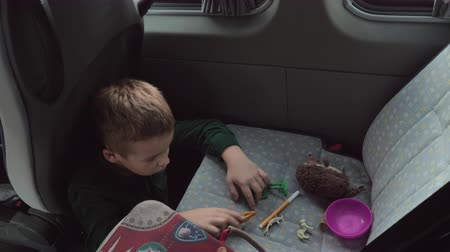A boy in a green shirt is sitting on a cars floor and playing with some toys on a back seat. There are a stuffed hedgehog, some plastic figures and a felt pen