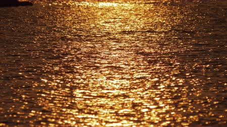 in acqua : Slow motion shot of quiet water surface with golden path. Seascape at sunset