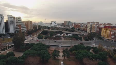 Aerial winter shot of Valencia, Spain. Cityscape with City of Arts and Sciences, Park Gulliver and traffic on Angel Custodi Bridge