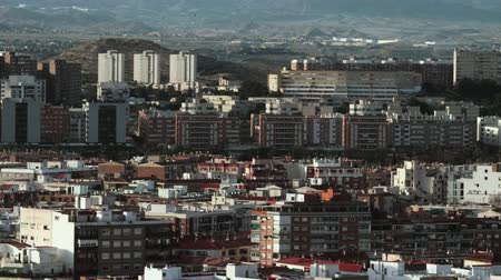 Alicante view with many apartment blocks and hills in background, Spain 影像素材