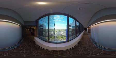 inner : MOSCOW, RUSSIA - AUGUST 08, 2017: 360 VR video. Inner view of Radisson Blu hotel. Empty hall with window overlooking glassy facade of building and car traffic on city roads Stock Footage