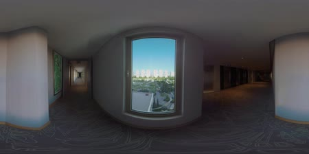 szállás : 360 VR video. Dark and light empty hotel corridors with window overlooking green areas and highrise houses in the city. Antalya, Turkey