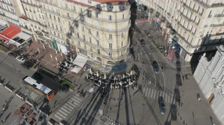 marseille : Looking at the street of Marseille from the height of Ferris wheel in Old Vieux Port, France. Shadow on the asphalt