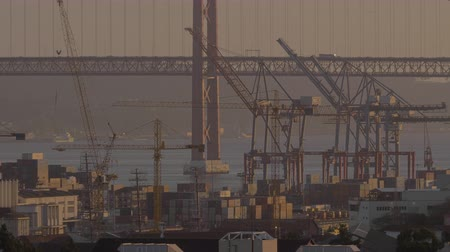 dockyard : Industrial port with cargo containers, cranes and car bridge in background, shot in warm sunset light Stock Footage
