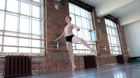 bale : Young female ballet dancer exercising in ballet class Stok Video