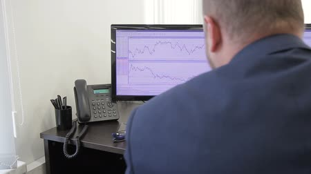 mínimo : The financial analytic is carefully looks after the price rates on his two computer monitors. The professional prepares the report on market situation and defines the extreme minimum on the chart using his pen. Vídeos