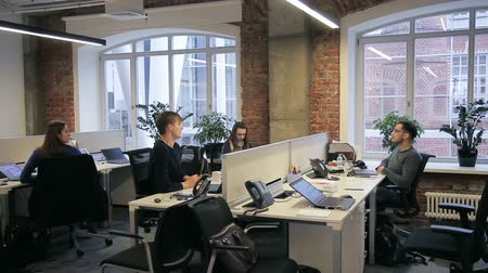 grote groep mensen : In office employees communicate with each other while sitting at desks. In room with brick walls and large windows young men and women talk about work. Stockvideo
