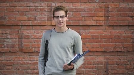charisma : Exterior shot of american student posing along college campus outdoors. Successful man in eyewear is smiling, looking, standing near wall. Positive guy having good time, waiting education process. Concept: slo mo, happy person, mood. Stock Footage
