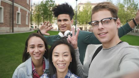 informal : Multiracial friends vlogging in university campus. Cheerful caucasian vlogger and african and asian stdents looking to smartphone camera, smiling and talking. Stock Footage
